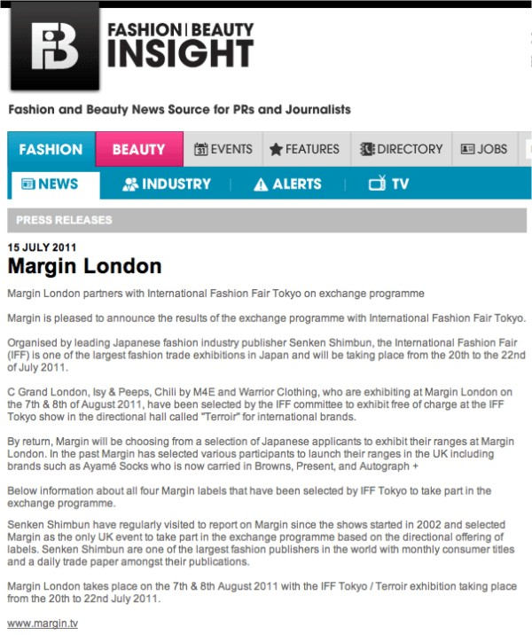 Margin London + fashioninsight.co.uk