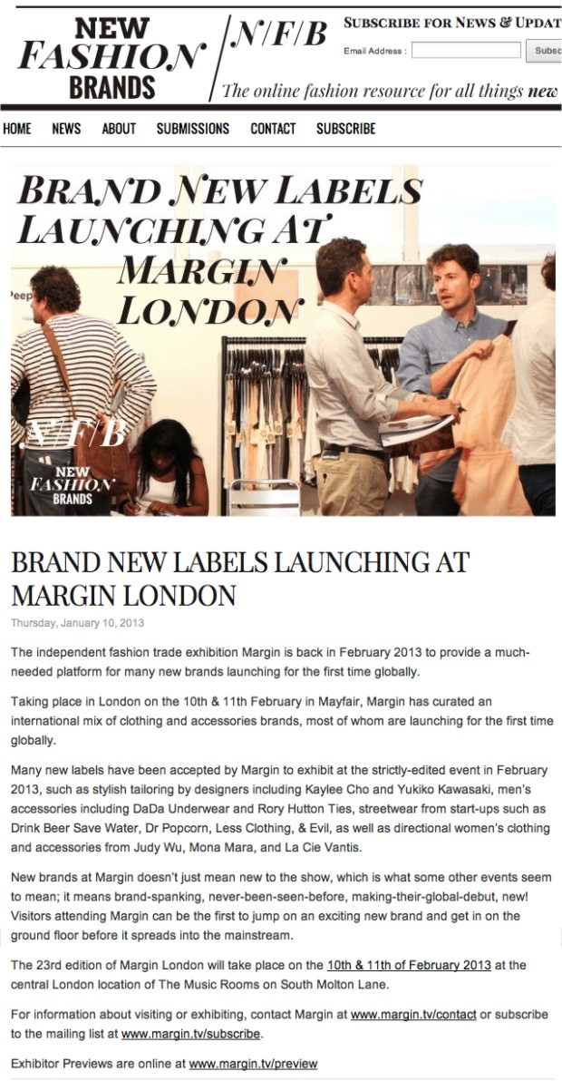 NewFashionBrands.com + Brand New Labels Launching at Margin London