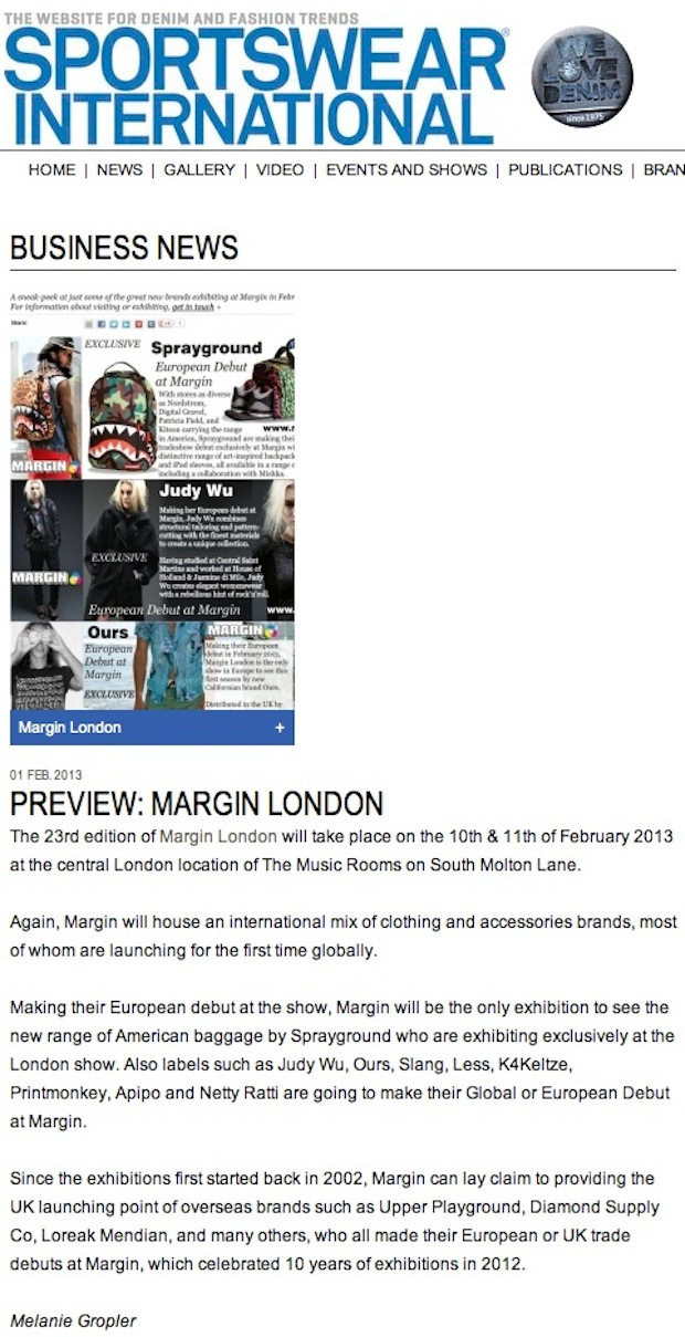 Sportswear International Preview: Margin London February 2013