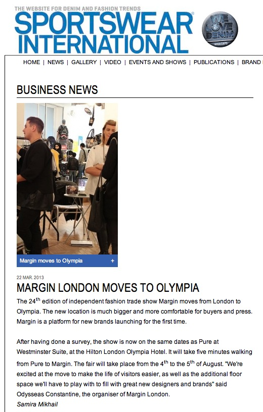 Sportswear International Margin London Moves To Olympia